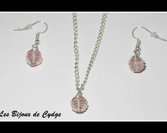 Set necklace + earrings pink
