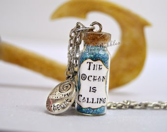 Moana Necklace The Ocean is Calling with a Follow Your Hear Charm, The Heart of Te Fiti, Disney Bound, Moana Cosplay, Maui, The Wayfinders