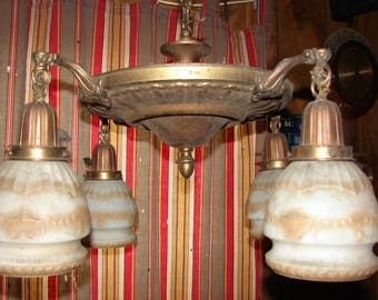 Great Antique Brass Classical 4 Light Ceiling Light Fixture With Matching  Shades