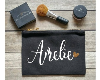 Personalized Makeup bag, personalized cosmetic bag, personalized tote bag, bridesmaid gift, bride gift, custom tote, glitter, pencil bag