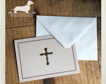 DOLLAR DEAL! Cross. Note Cards (Set of 3) -- (Vintage-Style, Baptism, Christening, Confirmation, Communion, Simple Thank You, Gold Foil)