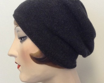 Pure Cashmere Rollup hat, cuff hat, slouch beanie, charcoal, unisex,  FREE SHIPPING in the US