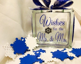 """Winter Wedding Guest Book Wish Block - Glass with """"Wishes for the Mr. & Mrs."""" - Personalized - Paper Snowflakes in Silvers Royal Cobolt Blue"""
