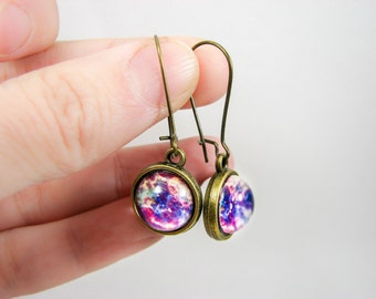 Galaxy earrings, Space earrings, Space jewelry, Galaxy jewelry, Universe earrings, Nebula jewelry, Pink brass earrings, Cosmic earrings