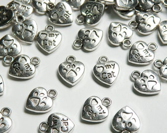 20 Love My Cat charms with heart antique silver 13x10mm PD082-AS