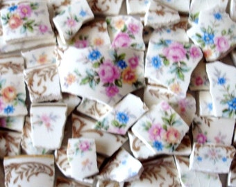 Vintage - Mosaic Tiles - Pink  Roses - Yellow - Blue -  Flowers - Old Gold w Wheat Rims Accents - Vintage - Broken China -Tessera