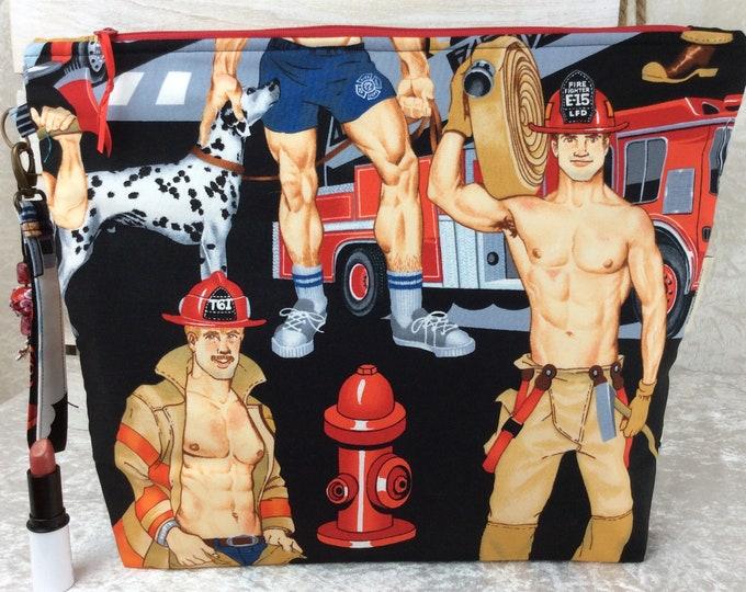 Handmade Giant Zipper Case Zip Pouch fabric Bag Purse Alexander Henry Firefighters Ready For Action Firemen