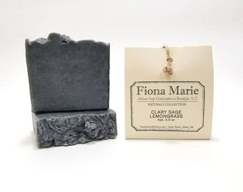 Lemongrass - Clary Sage / Stress Detox Bar Soap with Activated Charcoal and Bentonite Clay
