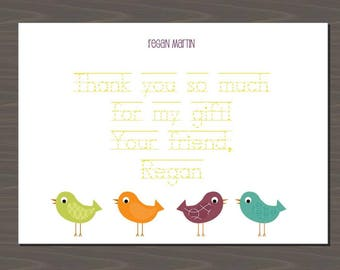 Cute Thank You Cards for Kids, Cute Kid Thank You Card, Bird Thank You Notes, Bird Stationery, Bird Thank You Notes, Bird Invitations