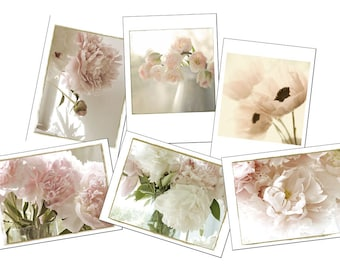 Greeting Card Set, Gift for Her, Six  Flower Cards, Blank Cards, Sepia, Peony, Tulip, Poppy Cards