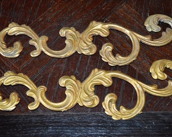Antique Pair French Brass Trim Hardware Mounts Ornate Acanthus Swirl Design Repurpose