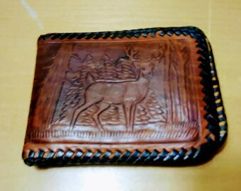 Vintage Deer Hand Tooled Leather Billfold Wallet Mexico