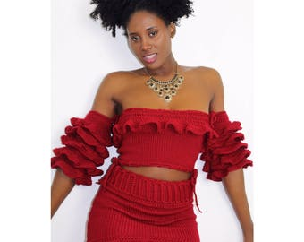 Off the shoulder ruffle/flounce top with ruffle HEM skirt.