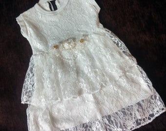 Shabby Chic Ivory baby girl baptism dress  Gown Lace Dress Christening Dress Gown Antique Gowns Naming Ceremony Blessing Dress