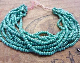 Seed Bead Size 11 Mini Hank Teal Green Luster Antique SBM21
