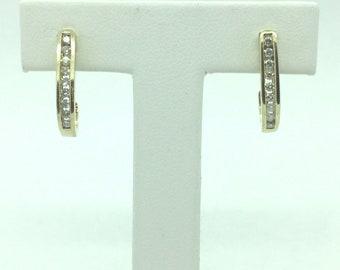 10k Yellow Gold 1/4 Carat Full Cut 18 Diamond Channel Set Loop Earrings Nice