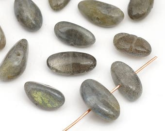 18 pcs side drilled labradorite beads, grey green smooth freeform semiprecious stone, average size 16mm