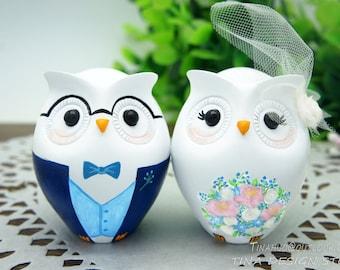 Owl Wedding Cake Topper,Nerdy Wedding Cake Topper,Blue Wedding Cake Topper,Love Bird Wedding Cake Topper,Owl Gifts,Nerdy Groom Cake Topper