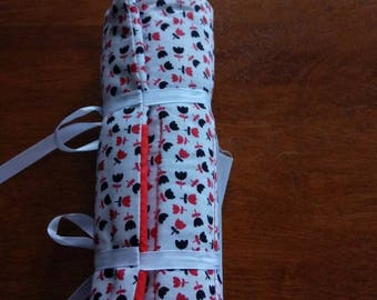Handmade Colored Pencil Roll Red, White and Black