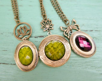 Necklace locket lotus