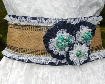 Country Cowgirl Chic Genuine Turquoise  and Denim-Lace Burlap Corset Belt--CRBoggs Designs Original