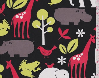 Black Animal Print Cotton, Fabric By The Yard