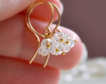 Herkimer Diamond Earrings, Quartz Gemstone Cluster, Sterling Silver or Gold Filled, April Birthstone Jewelry, Free Shipping