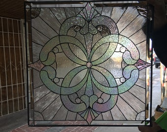 """The Stunning """"Windsor"""" Leaded Stained Glass Window Panel   (We do custom work! Please email me for a quick quote)"""