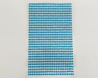 Plate 750 rhinestone stickers 2mm blue cabochon
