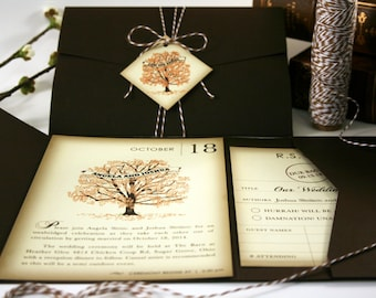 Book Fall Wedding Invitation Sample, Pocketfold Tag Twine, Fall Wedding Invitations, Rustic Vintage Wedding Invitation Book Wedding Invites