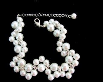 Bracelet de perles Ivoire, blanc perle Bracelet, Bracelet en perle de verre, Bracelet mariage, Bracelet demoiselle d'honneur, bijoux livraison gratuite dans USA