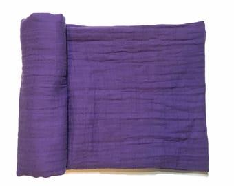 Muslin Swaddle Blanket- PURPLE- purple swaddle blanket- receiving blanket- baby blanket- cotton blanket- light weight blanket- baby wrap
