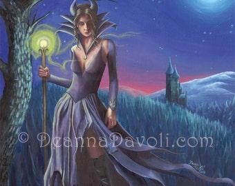 Maleficent Art Print Sleeping Beauty Art 5x7 Fantasy Art Fairy Tale Art Mistress of Evil