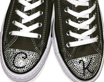 Monogrammed Converse Shoes. Low Top Converse. Rhinestone Bling. Womens Custom Converse. Personalized Gift, Wedding, Bridesmaid, Gift for Her