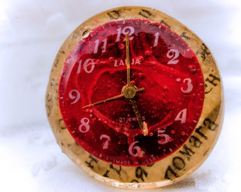 Red Vintage watch parts newspaper Watch ring resin real Steampunk ring antique mechanical watch. Ruby stones steampunk design jewelry