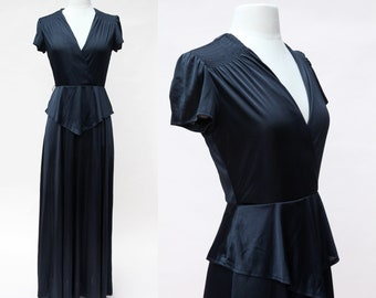 Vintage 70s Dress / Vintage 70s Black Maxi Peplum Dress / Vintage 70s Gown