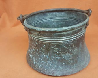 Antique Patina Bucket With Handle - Vintage