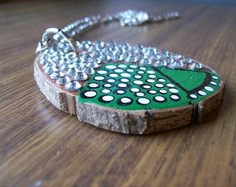 Reclaimed magnolia wood pendant jewellery.Emerald etoile.