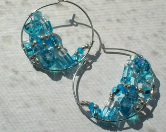 Blue Crystals and Glass BeadsWire Wrapped Silver Hoop Earrings by hipknitta