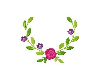 Springtime Wreath Pink Flower Machine Embroidery Design