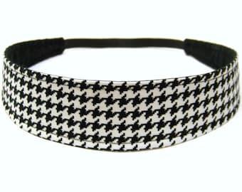Houndstooth Headband, Reversible Fabric Headband, Black & White Houndstoot, Headbands for Women - BLACK WHITE HOUNDSTOOTH