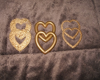 6 Solid Brass Heart Embellishment Stampings Findings  3 Different Styles Fancy & Plain