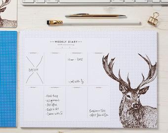 Stag Weekly Planner / Deer Weekly Pad / Animal Daily Diary / Weekly Calendar