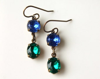 Emerald Green and Sapphire Blue Rhinestone Earrings / Green and Blue Vintage Glass Earrings / Jewel Tone Leverback Earrings / Estate Style