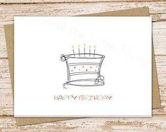 birthday card set . birthday cake, candles . happy birthday cards . folded cards . set of 6