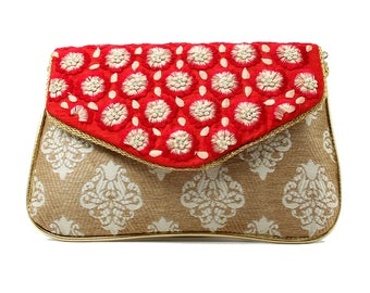 Red envelope clutch handbags valentines day gift brocade bohemian unique purse wife evening bags indian embroidery patterns mothers day