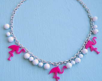 Retro Flamingo Necklace, Rockabilly 50s Inspired, Pinup Jewelry, Women, Girls, 50s Necklace, 40s Necklace, Plastic Necklace