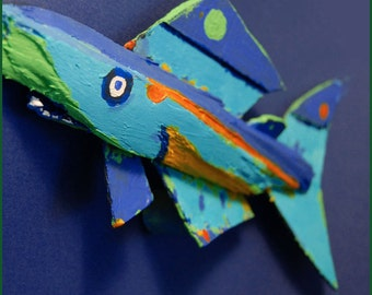 Recycled Wood Whimsical Fish Art - Colorful Ready to Hang Painted Recycled Wood Funky Fish Art Wall Decor