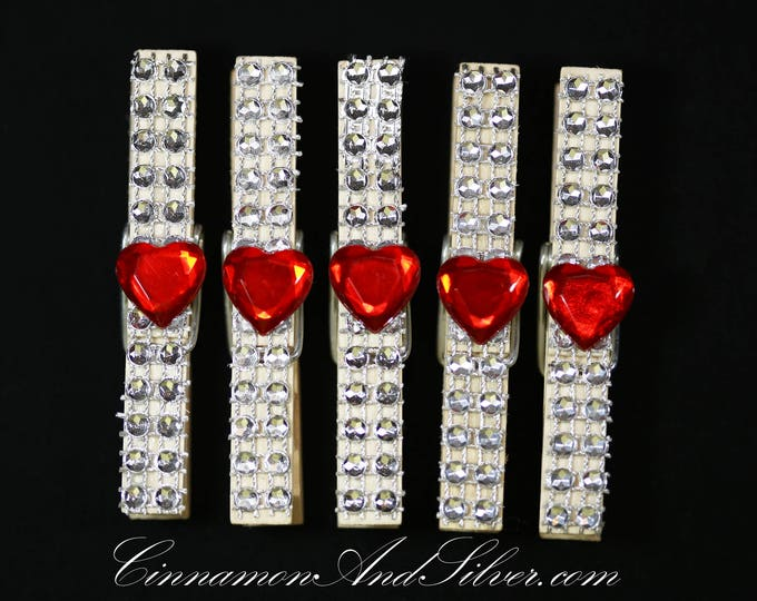 Sparkle Hearts Clothespins, Hearts Clothespeg, Valentine Hearts Decor, Sparkle Hearts Photo Clip, Photo Holder, Decorative Clip