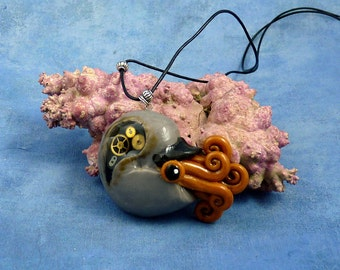Steampunk Nautilus Necklace, Clockwork Cephalopod Jewelry